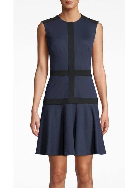 Nicole Miller NM FLARE DRESS BLACK/ NAVY SIZE PETITE