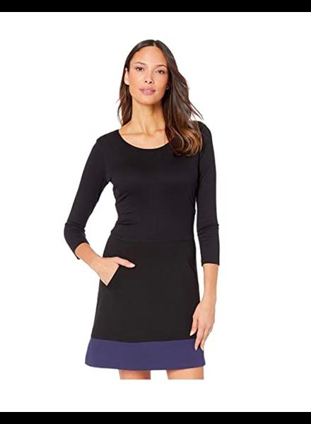 Nicole Miller NICOLE MILLER  PONTE SCOOP DRESS BLACK/ NAVY SIZE PETITE