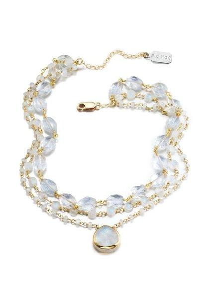 Ela Rae Jewelry ELA RAE 3 STRAND-MOONSTONE/TOPAZ-HEART