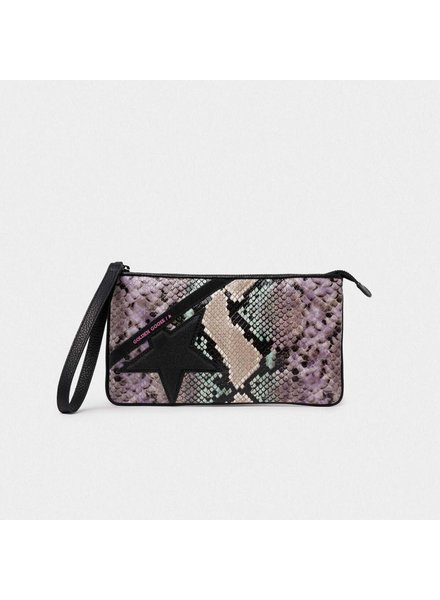 GOLDEN GOOSE STAR WRIST WALLET PYTHON/ BLK GL STAR