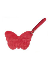 ELIZABETH SUTTON RED CROCODILE BUTTERFLY LUGGAGE TAG