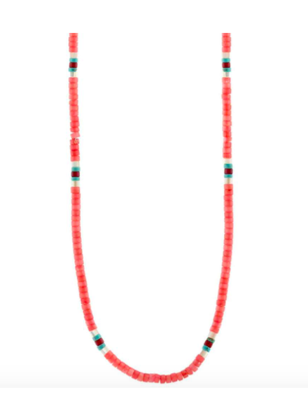 KRIS NATIONS KN PINK CORAL HEISHI NECKLACE