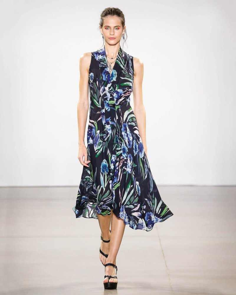 Nicole Miller NICOLE MILLER BLUE MIRAGE HI LO DRESS