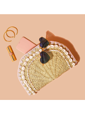 STONEY CLOVER WOVEN SHELL CLUTCH NATURAL