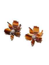 LELE SADOUGHI SMALL CRYSTAL LILY EARRING TIGERS EYE