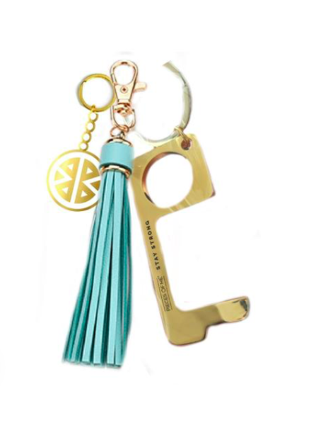 PIECES OF ME DON'T TOUCH THAT KEYCHAIN WOMEN'S AQUA