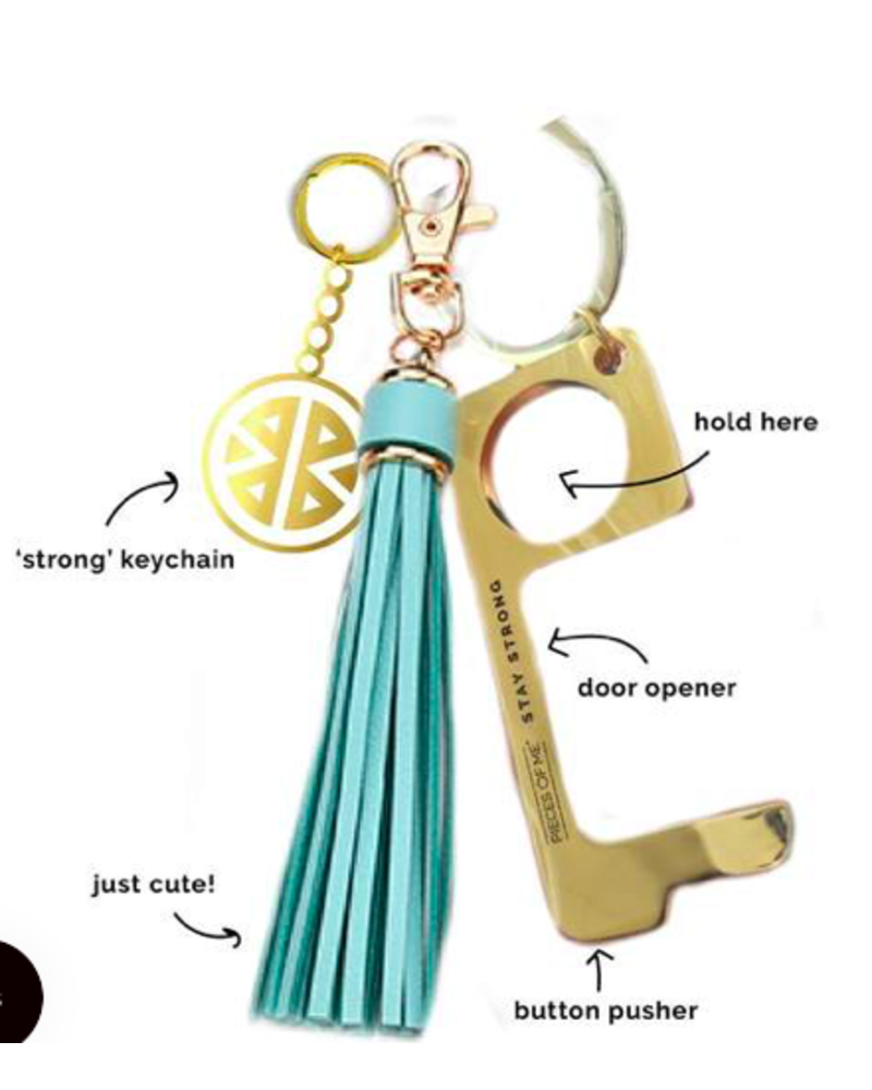 PIECES OF ME PIECES OF ME DON' TOUCH THAT  KEYCHAIN WOMEN'S AQUA
