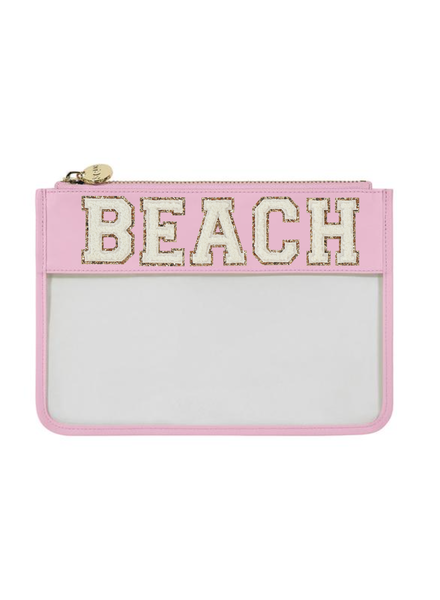 STONEY CLOVER BEACH FLAMINGO CLEAR FLAT POUCH