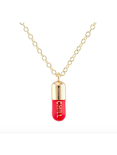 KRIS NATIONS CHILL PILL ENAMEL NECKLACE CORAL RED