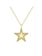 KRIS NATIONS STAR CHARM NECKLACE WITH PAVE MEDIUM