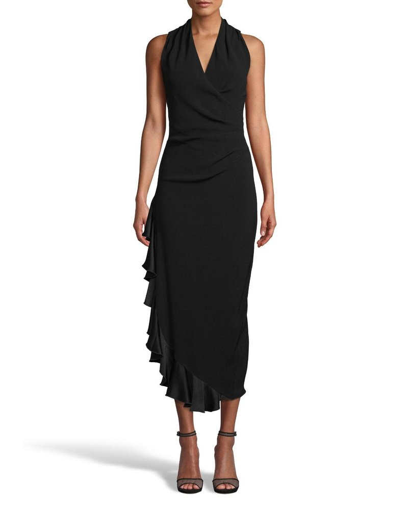 NICOLE MILLER NICOLE MILLER CREPE MIDI DRESS WITH RUFFLE