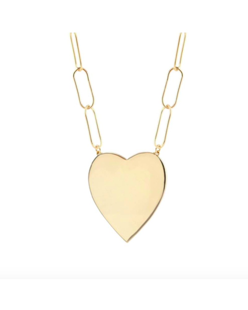 KRIS NATIONS KRIS NATIONS LARGE HEART PENDANT WITH LARGE LINK CHAIN G