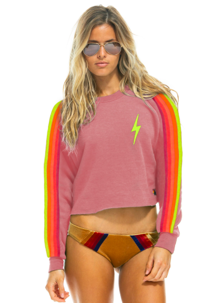 AVIATOR NATION BOLT CROPPED CLASSIC CREW