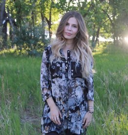 OLIVE HILL Floral Metallic Tunic