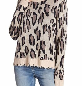 FATE Distressed Leopard Sweater