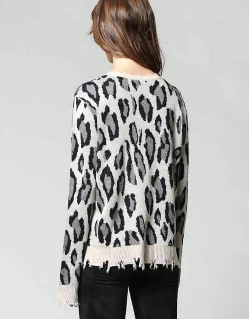 FATE Distressed Leopard Sweater