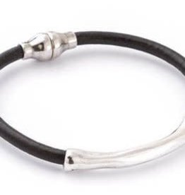 TRADES BY HAIM SHAHAR Black Leather Bracelet