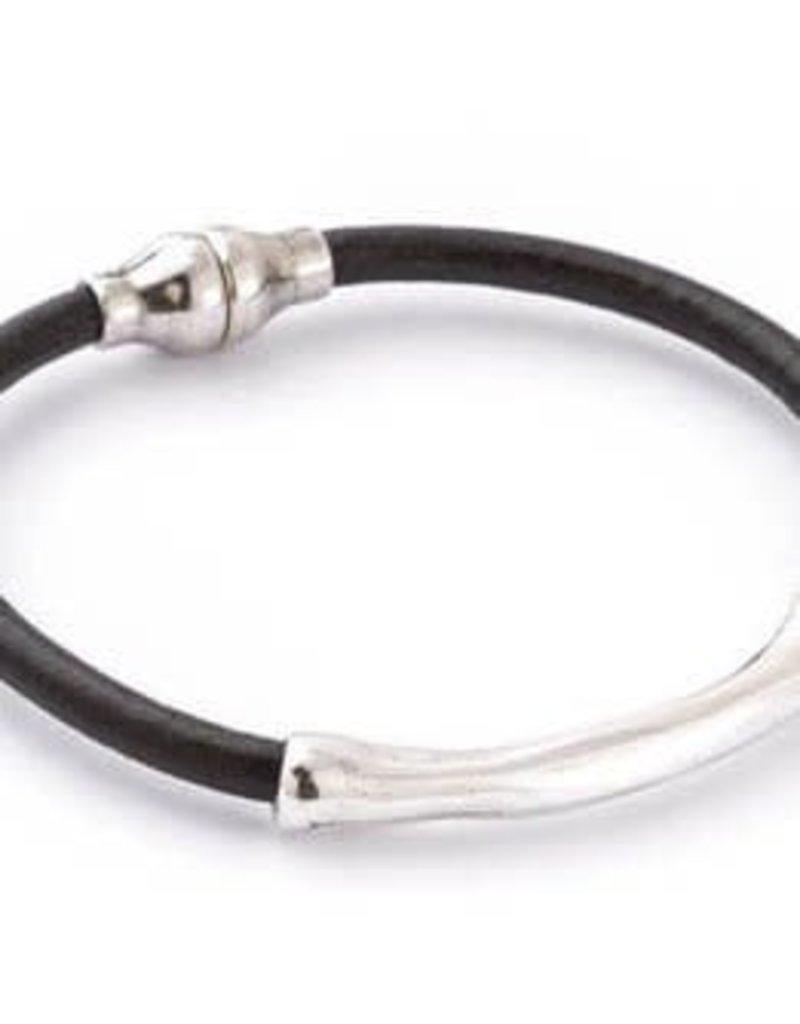 TRADES BY HAIM SHAHAR Black Leather Bracelet