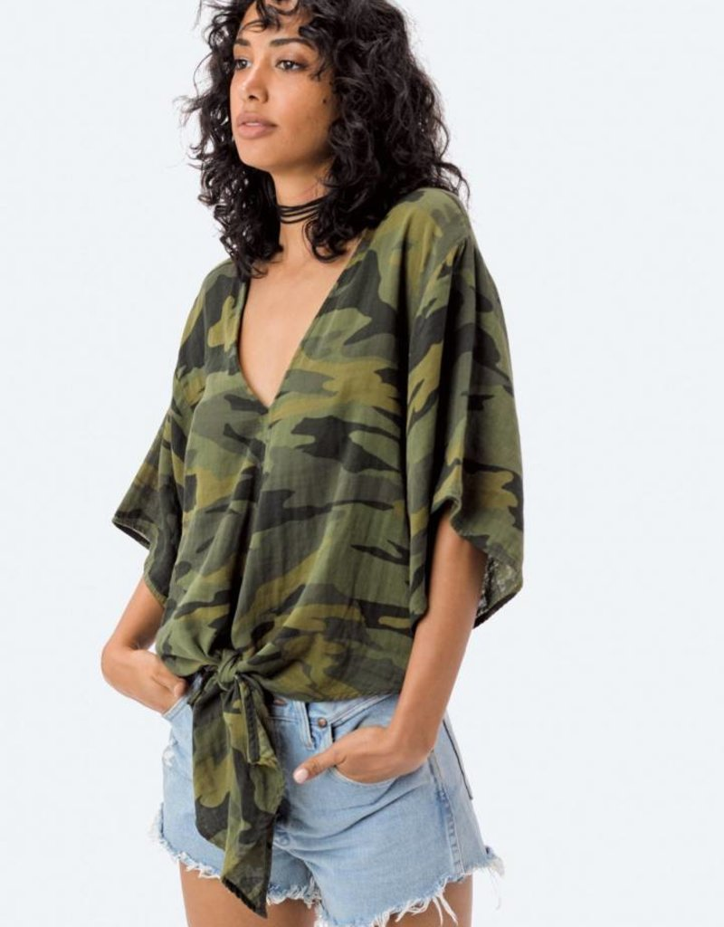 LOVESTITCH Casey Camo Tie Front Top