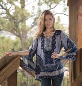OLIVE HILL Mosaic Peasant Blouse