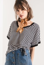 Z SUPPLY SHOP The Striped Boyfriend V Neck Tee