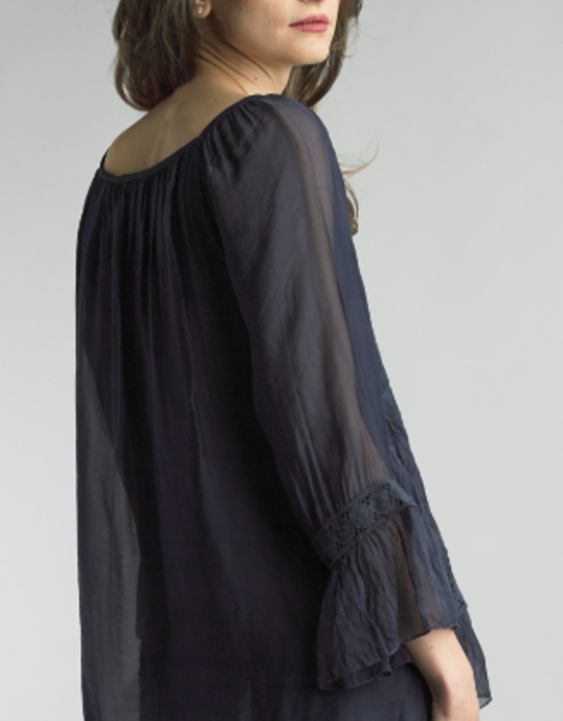 TEMPO PARIS Navy Embroidered Tunic