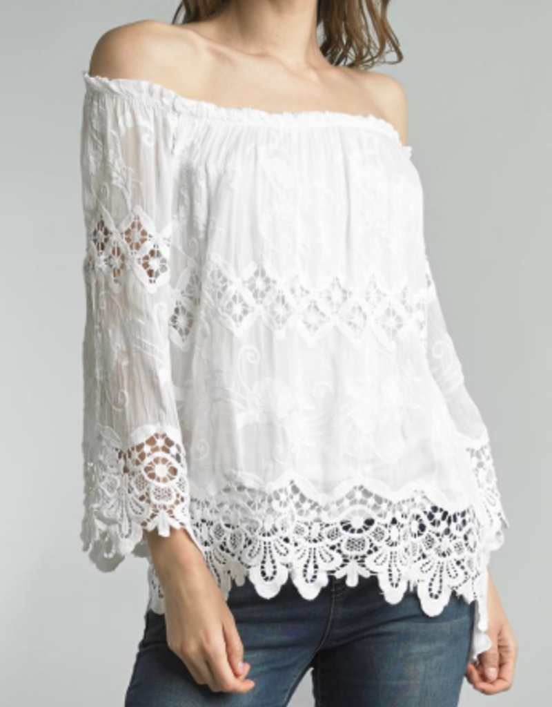 TEMPO PARIS Crocheted Peasant Top