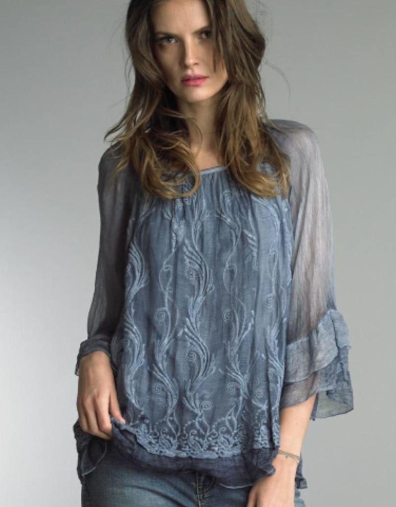 TEMPO PARIS Crinkle Embroidered Tunic