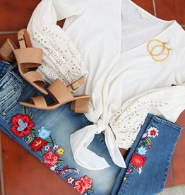 DRIFTWOOD Jackie Skinny Embroidered Floral Jeans