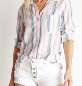 BELLA DAHL Frayed Hem Button Down in Sunset Strip