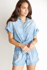 BELLA DAHL Cap Sleeve Tie Up Shirt