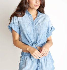 BELLA DAHL Cap Sleeve Tie Up Shirt