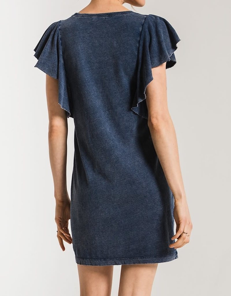 Z SUPPLY SHOP The Jersey Denim Ruffle Sleeve Dress