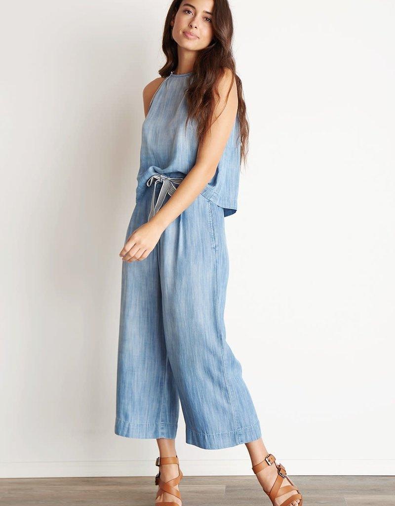 BELLA DAHL Stripe Trim Belt Crop Pants