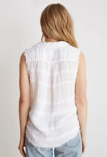 BELLA DAHL Sleeveless Frayed Button Down