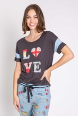 P J  SALVAGE Peace & Love Short Sleeve Graphic Top