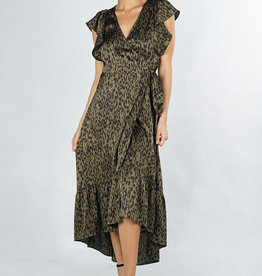 LOVESTITCH Leopard Flutter Sleeve Maxi Dress