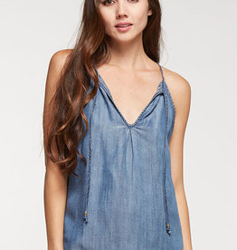 LOVESTITCH Tie Front Denim Cami