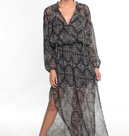 LOVESTITCH Sheer Floral Print Long Sleeve Maxi Dress