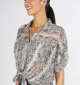 LOVESTITCH S/S Cuffed Snake Print Top(More Colors Available)