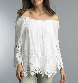 TEMPO PARIS Embroidered 3/4 Sleeve Top