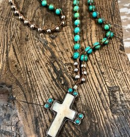 JONAS SHOP Long Jonas Necklace Turq w/ Cross
