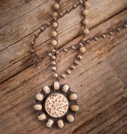 JONAS & MUSE Carved Bone Flower Necklace