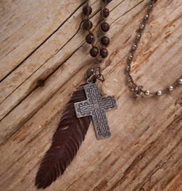JONAS & MUSE Southwestern Cross with Leather Feather Necklace