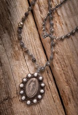 JONAS & MUSE Pearl Religious Medallion Necklace