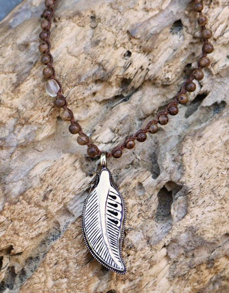 JONAS & MUSE Carved Bone Feather Necklace