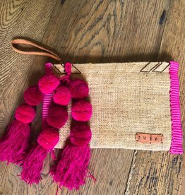 DUTZI Vintage Burlap Pouch with Pompoms