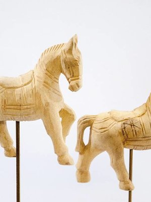 Wooden Horse Statues Set of 4