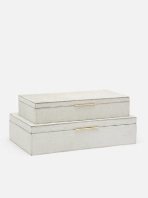 Set of 2 White Hair on Hide Boxes