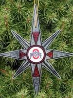 Ohio State Stain Glass Snowflake Ornament